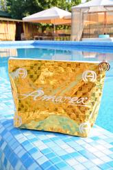 Золотая пляжная косметичка Amarea Borsa Gold